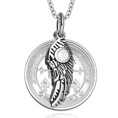 Archangel Uriel Sigil Amulet Magic Powers Angel Wing Charm White Simulated Cats Eye 18 Inch Necklace, Women's
