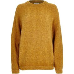 River Island Yellow brushed wool-blend knitted sweater (98 CAD) ❤ liked on Polyvore featuring tops, sweaters, knitwear, women, yellow, wool blend sweaters, slouchy tops, crewneck sweater, crew-neck sweaters and slouchy sweater