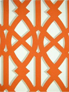 "ODL Elton Tangerine.  Indoor - Outdoor Shadow Trellis print. 100% poly heavy slubby basket fabric. Mildew and Fade resistant. Repeat; 12.625"". 54"" wide. Made in U.S.A."