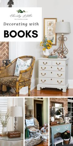 Fabulous ideas for decorating your home with books! Books can add height, color and style to your vignettes! Multiple bloggers share ideas.