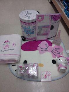 18pc Hello Kitty Bathroom Set Shower Curtain Hooks Bath Mat Bath Towel  Tooth Brush Holder Trash