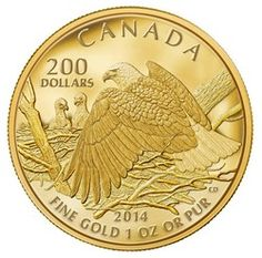 Royal Canadian Mint $200 2013 Pure Gold Coin - Bald Eagle Protecting Her Nest.