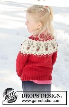 Ravelry: Little Red Nose Jacket pattern by DROPS design How To Start Knitting, Knitting For Kids, Free Knitting, Baby Knitting, Crochet Baby, Knit Crochet, Crotchet Patterns, Crochet Cardigan Pattern, Sweater Knitting Patterns