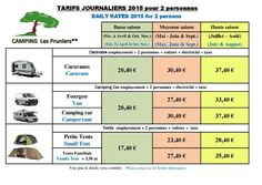 TARIFS 2015 camping mandeleux la napoule