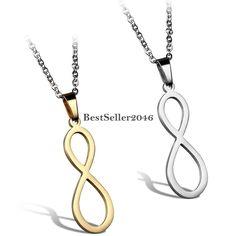 Edelstahl Partner Anhänger Halskette Silber Gold Infinity Unendlichkeit Symbol
