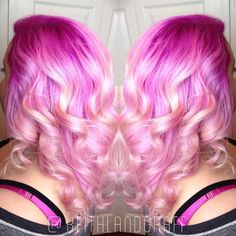 Definitely pretty in pink! Beautiful intense pink melting into light pink and blonde strands. color melt hair painting Artist: Keith Landgraff hotonbeauty.com