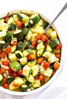 Baked Italian Zucchini, Tomatoes and Onions - A healthy and satisfying vegetable side dish!