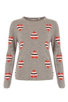 Striped topsy-turvy and upright hearts adorn this stand out sweater from the Chinti & Parker A/W16 collection. Spun from ultra soft grey marl cashmere, this statement knit features multi colour all over hearts intarsia for a vibrant effect. Wear simply with jeans and a plain cotton Tee.