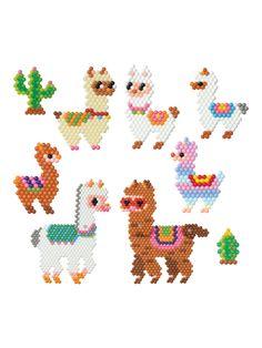Buy Aquabeads Lovely Llama Set from our Arts & Crafts range at John Lewis & Partners. Perler Bead Templates, Diy Perler Beads, Pearler Bead Patterns, Perler Bead Art, Perler Patterns, Hama Beads Animals, Beaded Animals, Brick Stitch Patterns, Motifs Perler