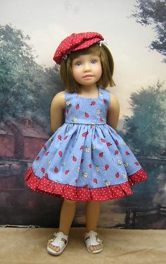 """Lady Bugs dress set to fit 18"""" and 17.5"""" Kidz'n'Cats doll by BevBeeseDollyTogs on Etsy https://www.etsy.com/listing/254525980/lady-bugs-dress-set-to-fit-18-and-175"""