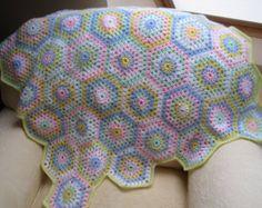 Crochet blanket baby colourful crochet afghan throw hexagon granny sqare READY TO SHIP