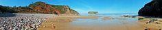 Playa de Andrínl, arruinada por los temporales. Andrín. Concejo de Llanes. Principado de Asturias. Spain.   [By Valentin Enrique].