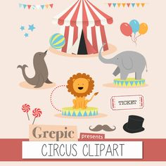 "Circus clipart: Digital circus clip art pack ""CIRCUS CLIPART"" for scrapbooking, card making, invites #patterns #scrapbooking"