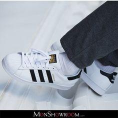 new styles 64420 d1e9a Baskets cuir Superstar Blanc Adidas Originals