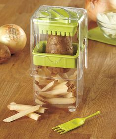 Our Onion & Potato Cutter, with its push-down function, makes it easy to cut up vegetables for French fries, onion soup and more.