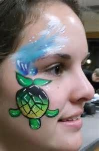 face painting cheek art  - Turtle and ocean