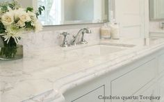 Which Granite looks like White Carrara Marble? - Bathroom Granite - Ideas of Bathroom Granite - Cambria quartz bathroom countertop looks like Carrara marble color Torquay; (it's like caesarstone or Silestone) Marble Bathroom, Countertops, Kitchen And Bath, Kitchen Remodel, Bathroom Countertops, Carrara, Kitchen Renovation, Bathroom Design, Bathroom Redo