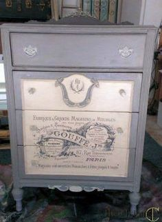 154037249727744237 Antique dresser finished with home made chalk paint, Modge Podge graphic transfer technique, and glazed finish. Decoupage Furniture, Chalk Paint Furniture, Refurbished Furniture, Repurposed Furniture, Furniture Projects, Furniture Making, Furniture Makeover, Furniture Decor, Diy Projects