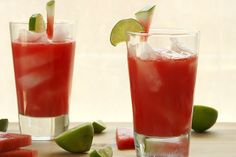 watermelon agua fresca...watermelon, lime juice, & mint come together in a refreshing, alcohol-free drink.