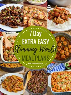 delicious 7 day Extra Easy Slimming World Meal Plans - taking the work out of meal planning so that all you have to do is cook and enjoy all the amazing food. Extra Easy Slimming World, Slimming World Menu, Easy Slimming World Recipes, Slimming Eats, Slimming World Lunches Work, Sw Meals, Budget Meals, Food Budget, Frugal Meals