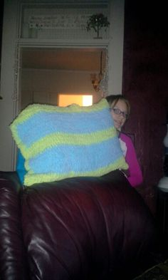 Pillowcase I made jackie, crocheted