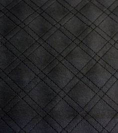 Quilted Faux Leather Fabric - Black