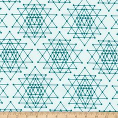 Kaufman Palm Canyon Geo Trellis Teal from @fabricdotcom  Designed by Violet Craft for Robert Kaufman, this cotton print fabric collection features abstract geometrical designs that will add a retro/mod mood to your creative projects. This fabric is perfect for apparel, quilting, and home decor accents. Colors include shades of teal blue.