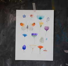 Květiny+a+motýl+(3)+Akvarel+32x24+cm+smetanový+akvarelový+papír+(200+gr)+s+jemnou+strukturou+podepsaný+originál Origami, Origami Paper, Origami Art