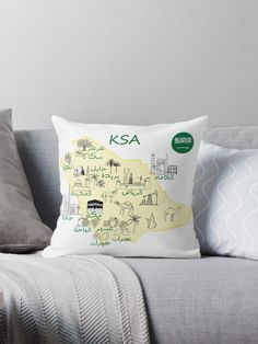 'Saudi Arabia Map hand drawn KSA tourist attractions With The names of cities in Arabic and the flag ' Throw Pillow by mashmosh