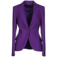 Escada Blazer ($640) ❤ liked on Polyvore featuring outerwear, jackets, blazers, tops, purple, wool collar jacket, purple blazer, wool jacket, multi pocket jacket and long sleeve blazer
