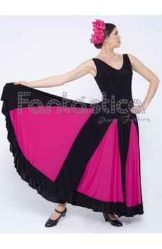 2e257fab11 Vestido de Flamenca   Sevillana para Mujer Color Negro y Fucsia