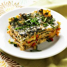 Vegetable Lasagna  Layers of zucchini, mushrooms, roasted red peppers, leeks, and spinach pack this dish with heart-healthy vegetables. You'll still get the lasagna noodles, cottage cheese, eggs, and mozzarella that you expect from the classic meat recipe.
