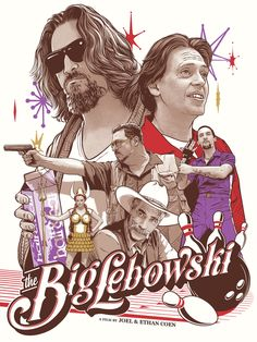 """""""The Big Lebowski"""" movie poster done by Joshua Budich for a special art show.  Next level #movieposter #art."""