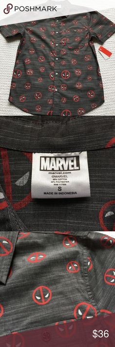 NEW Marvel Deadpool Gray Red Button Down Shirt Men Brand new with attached tags. Marvel Shirts Casual Button Down Shirts