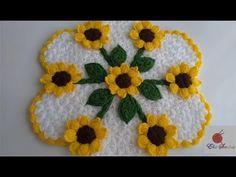 Ayçiçeği Lifi yapımı (tasarımı elişi sevdasi) Crochet Baby Booties, Knit Crochet, Crochet Hats, Crochet Potholder Patterns, Sunflower Design, Crochet Videos, Crochet Flowers, Doilies, Pot Holders