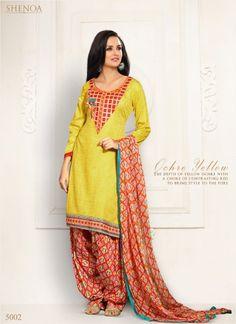 Yellow Embroidery Cotton Satin Jacquard Churidar Suit