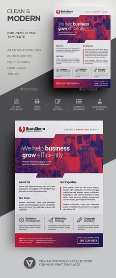 Clean Corporate Flyer Template - Envato #flyer #FlyerTemplate #graphicdesign #CorporateFlyer #BestDesignResources