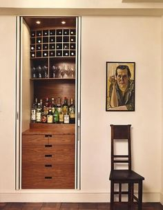 Not really a home bar or a liquor cabinet, but a fusion design which seems to fit this category board. Sort of a butler's pantry with a built in back bar and wine rack. Mini Bars, Closet Bar, Hidden Closet, Hall Closet, Closet Space, Closet Nook, Narrow Closet, Small Bars For Home, Br House