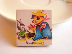 Easter Paper and Chipboard Pin Brooch - Bunny Rabbit and Farmer Pig in the Garden - Small Decoupage Badge - Retro Storybook