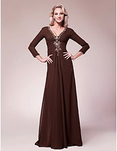 A-line V-neck Floor-length Chiffon Mother of the Bride. Get superb discounts up to 70% Off at Light in the box using Mother's Day Promo Codes.  Dress