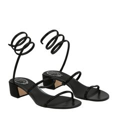 3c05f80f1 Shop Rene Caovilla Black SATIN Cleo sandals for Women at Level Shoes in  Dubai mall or Buy Online and Pay Cash on delivery in UAE