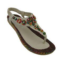 ba28cbb8c9e6d5 Donalworld Women Summer Beach Shoes Bohemian Beaded T Strap Flip Flops  Wedges Woman Platform Brown Sandals