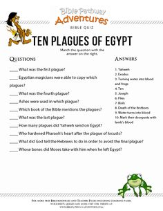 Enjoy our free Bible Quiz: Ten Plagues of Egypt. Moses and the Exodus. Fun for kids to print and test their knowledge. Feel free to share with others, too!