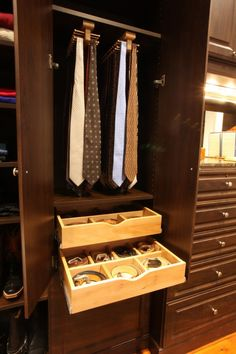 """bow Tie Storage Design Ideas, Pictures, Remodel, and Decor - page 3 Belt Storage, Closet Storage, Closet Organization, Extra Storage, Closet Racks, Storage Drawers, Organization Ideas, Men Closet, Walk In Closet"