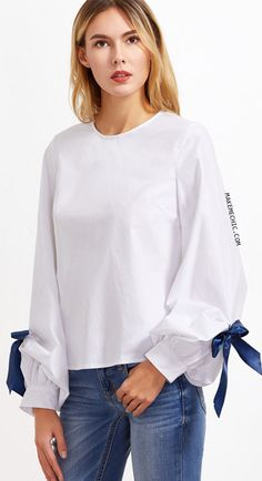 White Keyhole Back Bow Tie Bishop Sleeve Top