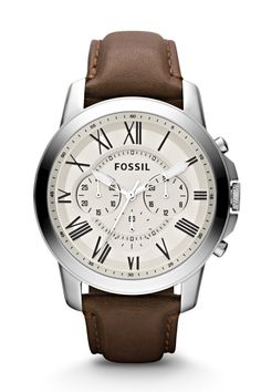 #Fossil Grant Chronograph Brown Leather Watch