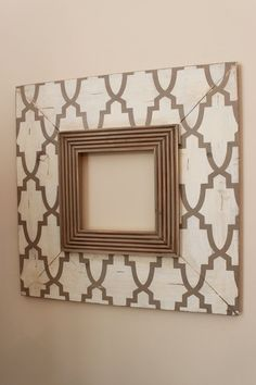 """8x8 Distressed Wood Picture Frame 8"""" wood Trellis in Khaki and Cream. $125.00, via Etsy."""