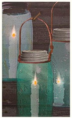 Primitive Country Blue Green Mason Jar Lantern Candle Picture Canvas Lighted   #RusticPrimitive