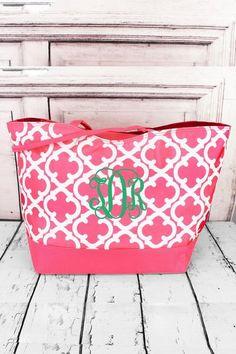 Pink Quatrefoil Large Shoulder Tote #wholesaleaccessorymarket #monogram #beachtote #beachbag Beach Weather, Quatrefoil, Spring Break, Preppy, Monogram, Wallet, Shoulder, Pink, Collection