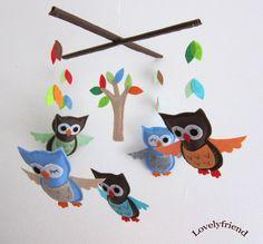Mobile -Baby Crib Mobile - Baby Mobile -  Crib mobiles - Felt Mobile - Nursery mobile - Blue & brown Owl (Custom Color Available).78.00, via Etsy.